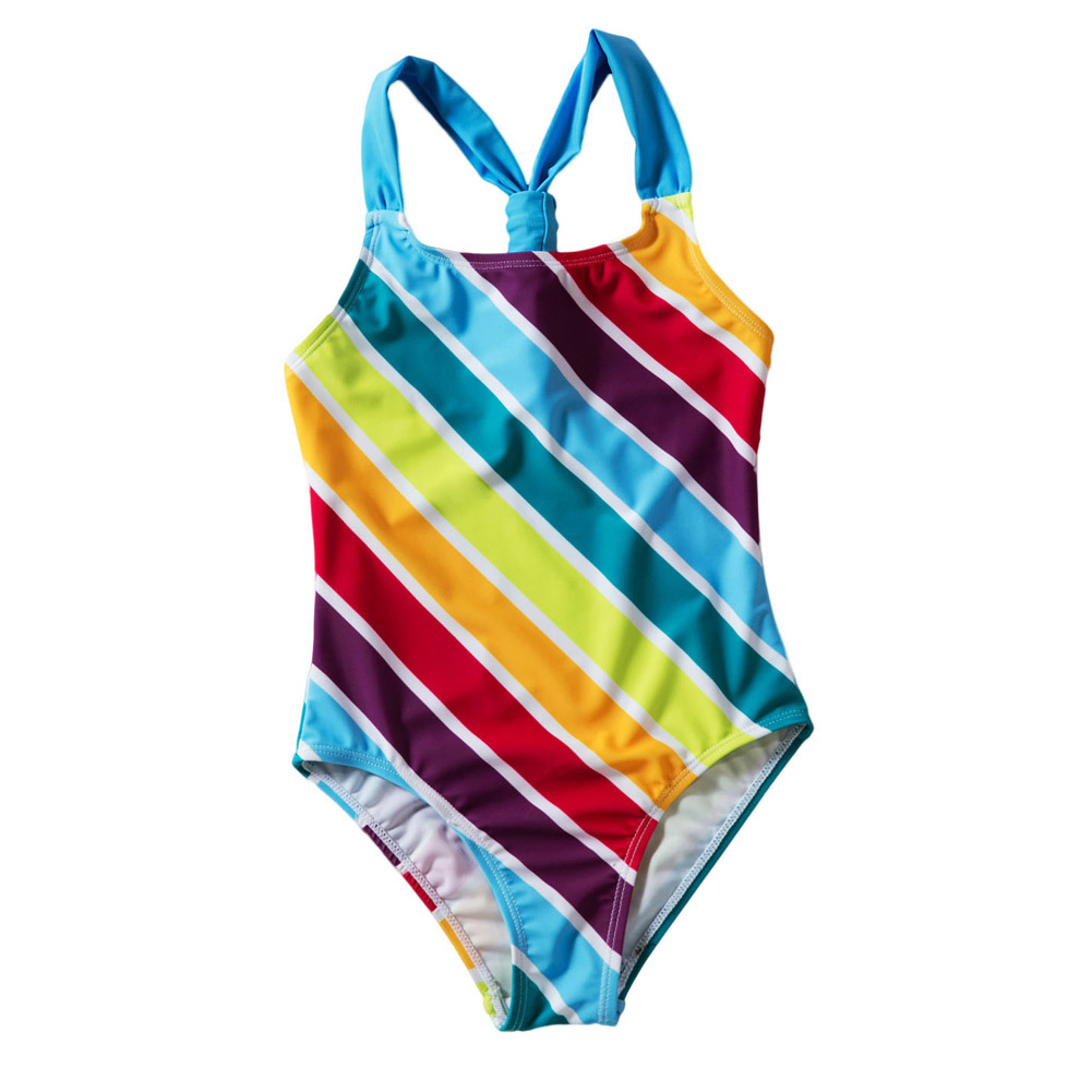 Shi Ying New Style America CHILDREN'S Swimsuit Women's Multi-color Stripe Conservative Princess One-piece Swimming Suit Women's