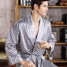 Men Sleepwear Mens Robes Silk Long Sleeve Nightgown Bathrobe Kimono Home Bath Gown Printed Geometric Sexy Robe
