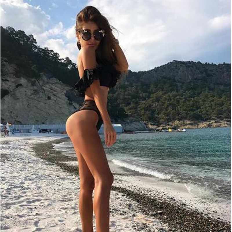 Bikini mayo kadınlar yüzer 2 parça Set mayo 2020 yaz moda seksi sütyen ve külot seti siyah Bodysuit plaj kıyafeti üstleri