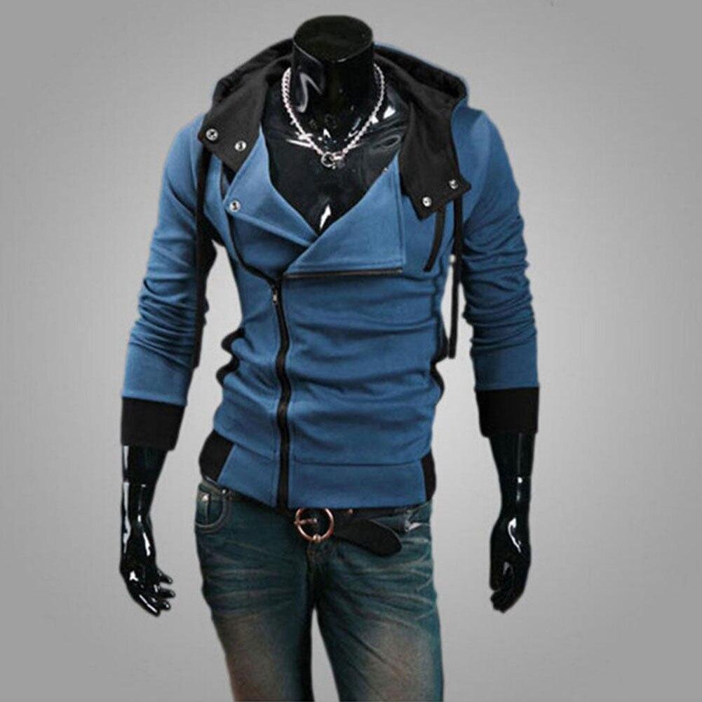 Mode hommes polaire sweat à capuche couleur Patchwork côté veste à glissière décontracté hommes à manches longues noir gris bleu à capuche manteau - 3
