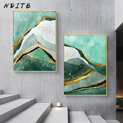 Golden Green Abstract Canvas Print Ink Artwork Painting Nordic Style Poster Minimalist Wall Picture for Living Room Home Decor