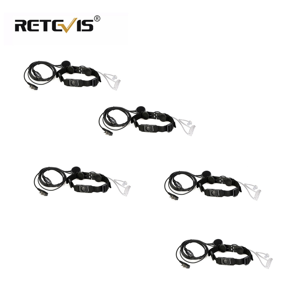 5pcs ETK003 Flexible 2 Pin Throat Control Laryngeal Shock Headset With Big Finger PTT For Kenwood Two-way Radio C9125A