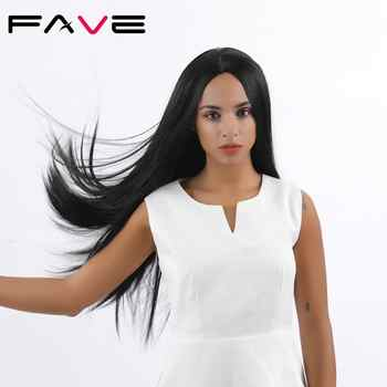 FAVE Long Silk Straight Natural Black Synthetic Wigs For Black White Women Heat Resistant Fiber Middle Part Fashion Hair Wig - Category 🛒 Hair Extensions & Wigs