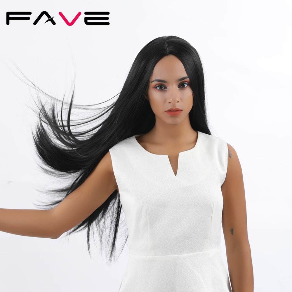 FAVE Silk Straight Long Natural Black/Pink/Purple/99J/Green Synthetic Wigs For Black White Women Heat Resistant Middle Part Hair