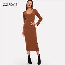COLROVIE Kahverengi Nervürlü Katı Sıska Kazak Elbiseler Kadın 2019 Sonbahar Scoop Boyun Uzun Kollu Ince Fit Kadın Zarif Uzun Elbiseler
