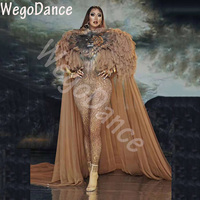 Hot Sale Tiger Pattern Jumpsuit Women Singer Sexy Stage Outfit Bar DS Dance Cosplay Bodysuit Costume Prom Model Show Clothes