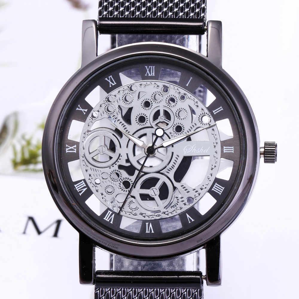 남성 시계 밀리터리 시계 스테인레스 스틸 쿼츠 손목 시계 플라스틱 밴드 중공업 시계 Reloj hombre relogio masculino %