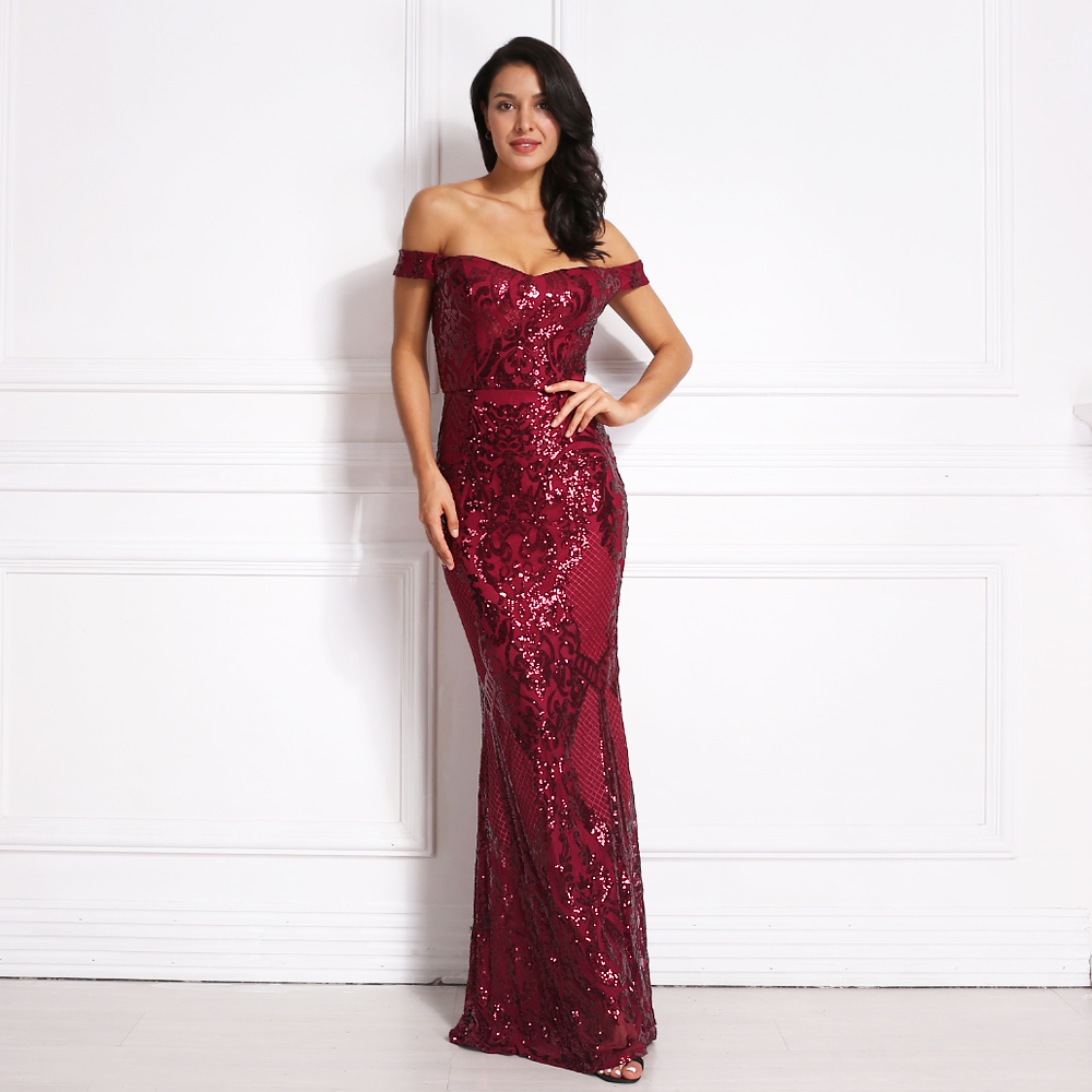 Off The Shoulder Burgundy Sequined Dress Backless Floor Length Stretchy Maxi Dress 2019 Autumn Winter-in Dresses from Women's Clothing    1
