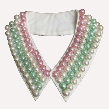 Green And Pink Greek Sorority Choker Statement Necklace Handmade Pearl Detachable Collars Necklace
