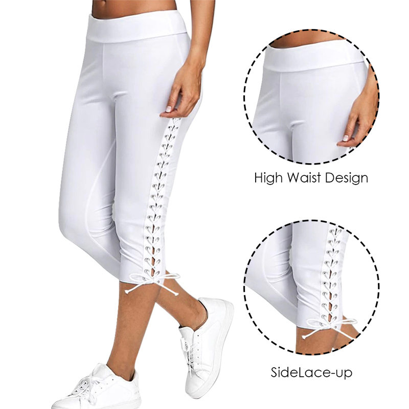 2020 Lace Up Capri Leggings Casual High Waist Women Side Bandage Women Leggings Women Bottoms Trouser Solid White Black