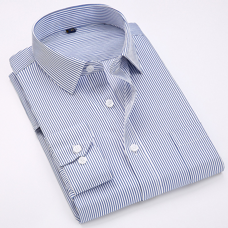 Business Non-Iron Regular Fit Men's Striped Shirts Formal Long Sleeve Square Collar Easy Care