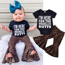 0-3y criança crianças meninas do bebê carta eu estou aqui para o wrangler bundas macacão topos leopardo queimado calças conjunto roupas ropa de niña @ 47