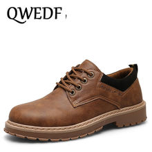 QWEDF 2019 New young Fashion  Comfortable oxfords shoes rubber outsole Anti-skid Mens casual leather Driving AA-022