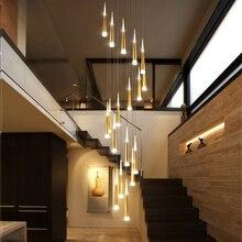 Led lustre de ouro/preto/branco/coffe/prata escada longo pingente lâmpada duplex edifício villa sótão ajustável pendurado luz