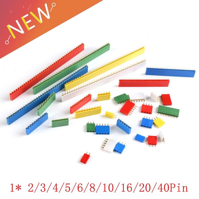 10Pcs Single Row Female 2.54mm Pitch PCB Female Pin Header Connector Straight Single Row 2/3/4/5/6/8/10/16/20/40Pin Socket Board