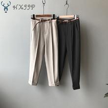 2019 Autumn Korean Version of British Retro Women's Suit Pants Casual Frilled High Waist Ankle-Length Pants Straight Slacks frilled tie waist plaid pants