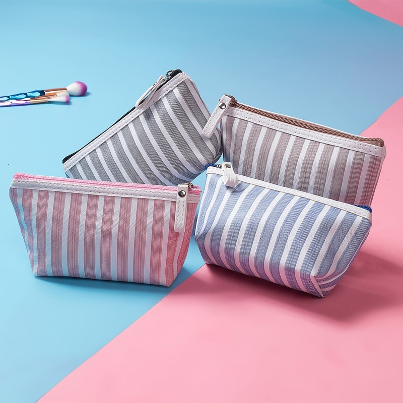 New Fashion Classic Stripe Cosmetic Bag Women Make Up Bag Travel Portable Makeup Bag Toiletry Bag Polyester Pouch 4 Color