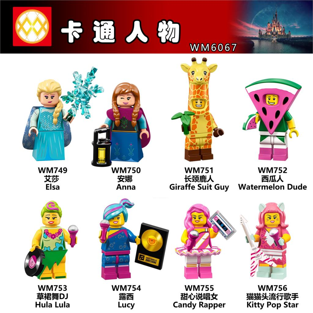 Single Cartoon Figure Anna Giraffe Watermelon Hula Lula Lucy Candy Rapper Kitty Pop Star Building Blocks Set Models Toys WM6067