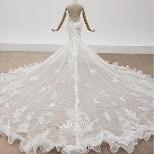 Image 2 - HTL1398 V 목 웨딩 드레스 아플리케 인어 웨딩 드레스 환상 신부 드레스 보헤미안 진주