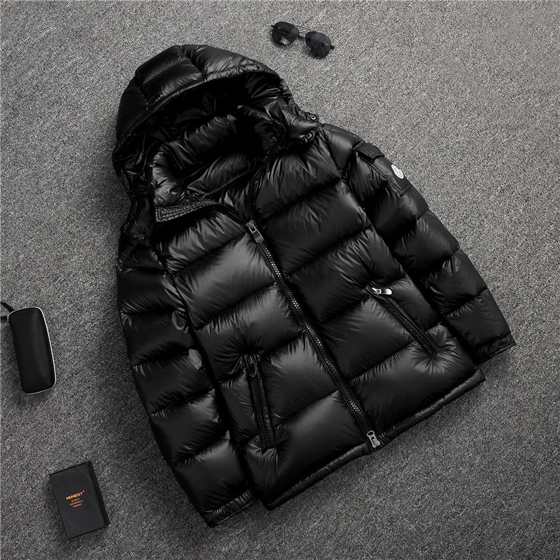 Couple Clothes Down Jacket Men And Women Thick Short Korean-style Trend New Style Bright Surface MEN'S Wear Hooded Tops Winter C