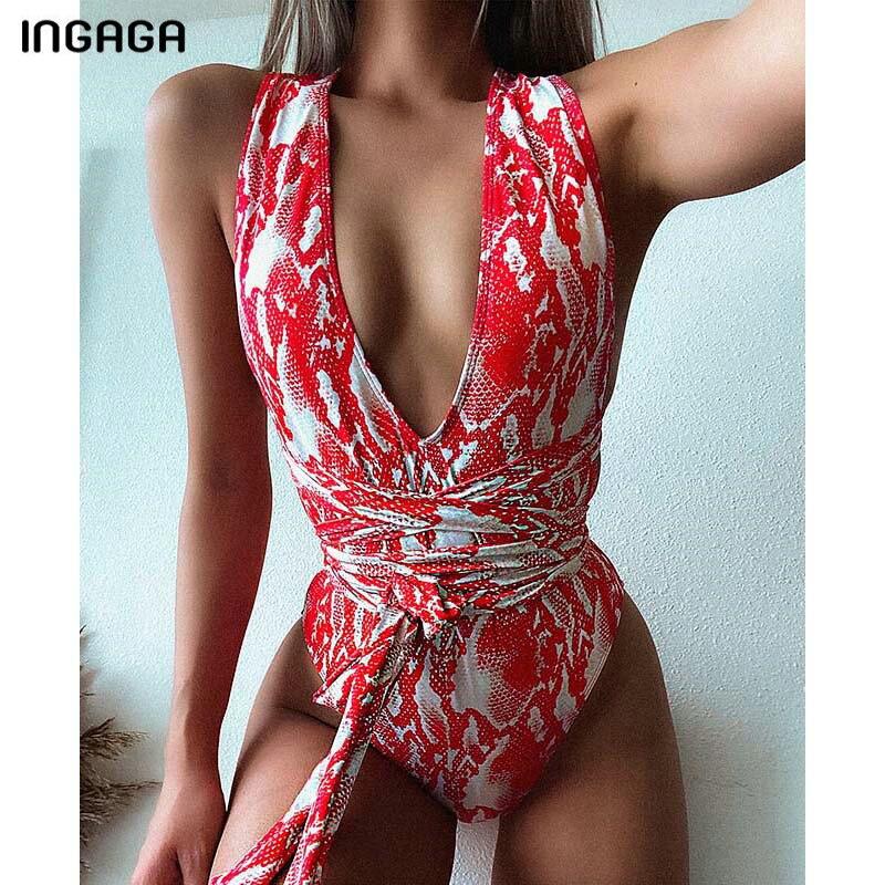 INGAGA 2020 Plunging Swimsuit One Piece High Cut Swimwear Women Cross Bandage Beachwear Summer Backless Bathing Suit Women-3