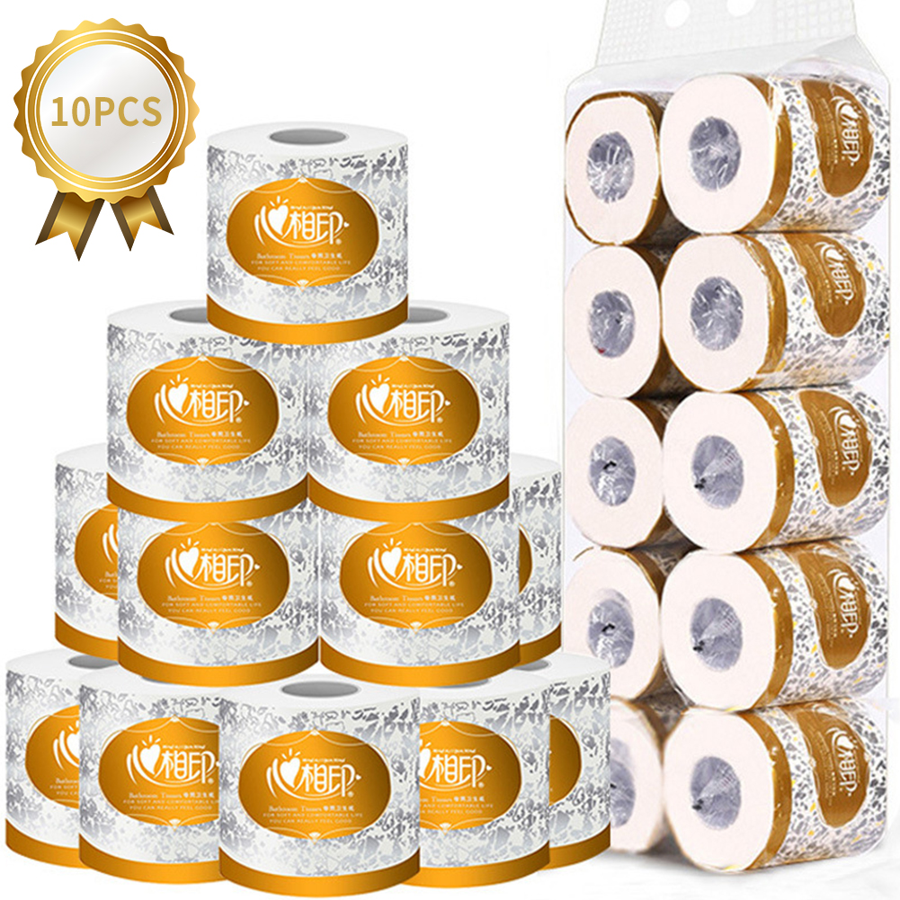 10 Rolls Toilet Paper Bulk Bath Tissue Bathroom White Soft 3 Ply Roll