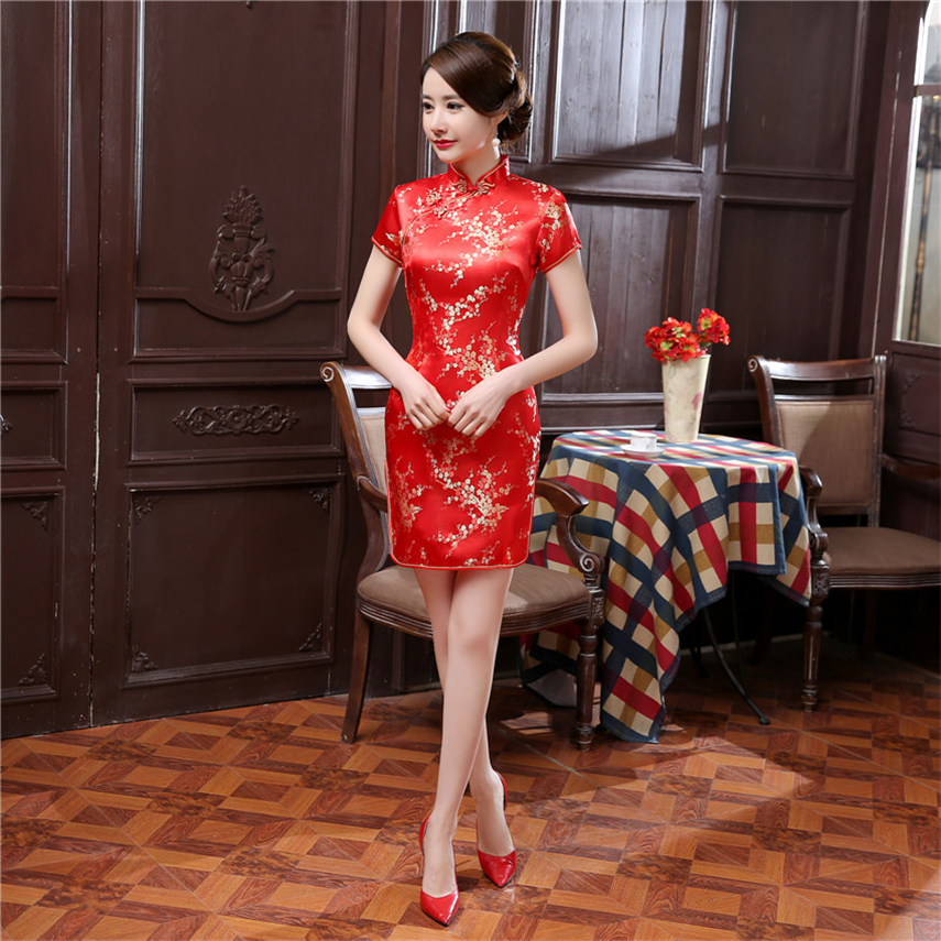 16Color Satin Chinese Traditional Dress For Women Qipao Short Vintage Dragon Print Red China Style Wedding Cheongsam S-6XL