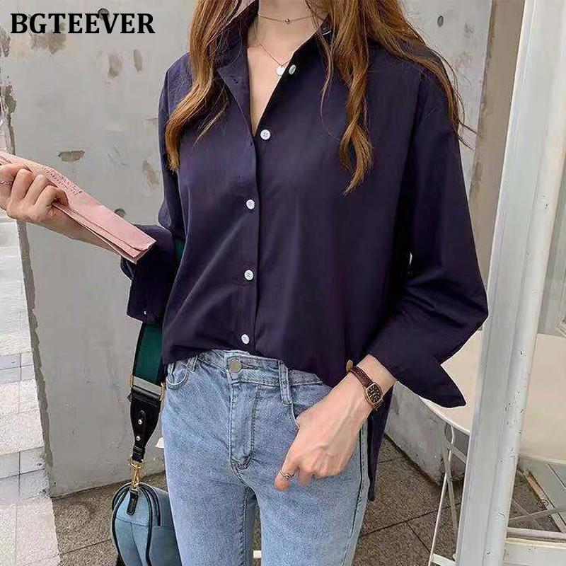 BGTEEVER OL Style Women Blouses Shirts Single-breasted Turn-down Collar Loose Female Tops Shirts Blusas Mujer 2020 Plus Size