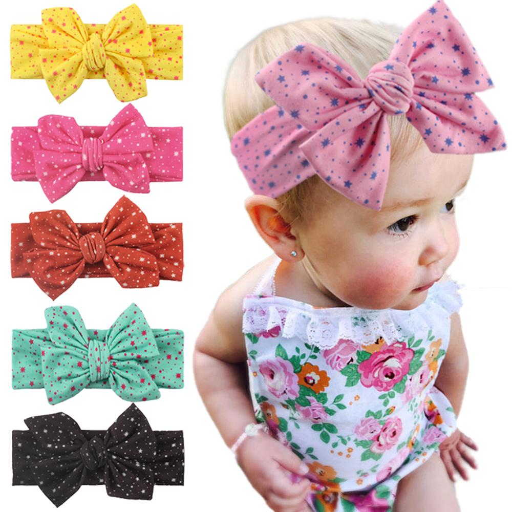 Pudcoco 0-4T Newborns Baby Girl Baby Bow Headband Kids Toddler Girls Floral Dot Hair Band Accessories Headwear Head Wrap
