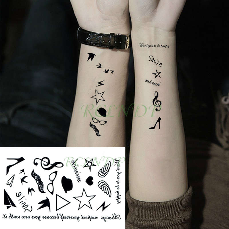 Waterproof Temporary Tattoo Sticker Letter Wings Star Musical Note Tatto Stickers Flash Tatoo Fake Tattoos For Kid Men Women
