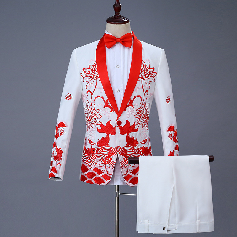 Мужской приталенный костюм из 2 предметов, смокинг на одной пуговице, блейзер, сценические костюмы певцов, свадебный смокинг жениха, пиджак