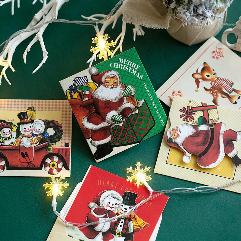 6 Pcs/set Christmas Card Merry Christmas Small Greeting Cards Kids Mini Christmas Greeting Cards New Year Postcard Gift Card
