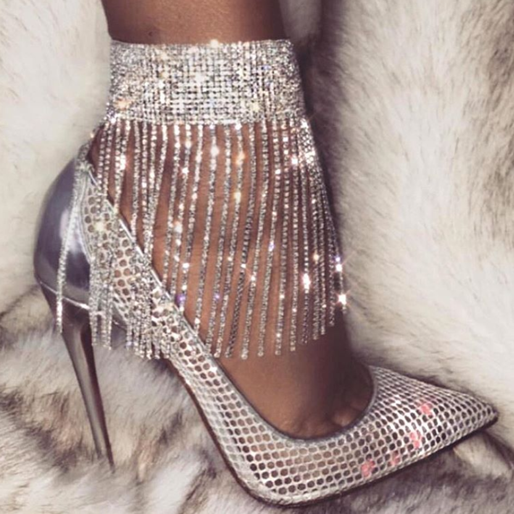 1PC Stonefans Full Rhinestone Tassel Adjustable Ankles Foot Chain Jewelry for Women Crystal Anklets Cheville Bracelet Leg Gifts