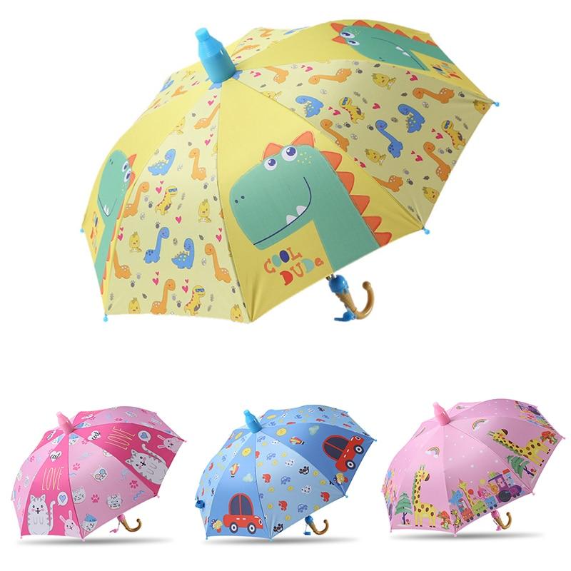 Kids Umbrella Boy Girl Children Mickey Cartoon Dinosaur Cat Giraffe Printing Rain Umbrella Semi Automatic for Boy Girls Gifts