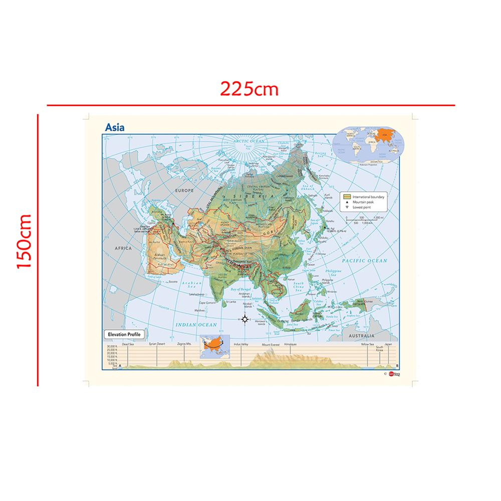 Foldable Waterproof Map Of Asia Elevation Profile Without National Flag For Education 150x225cm