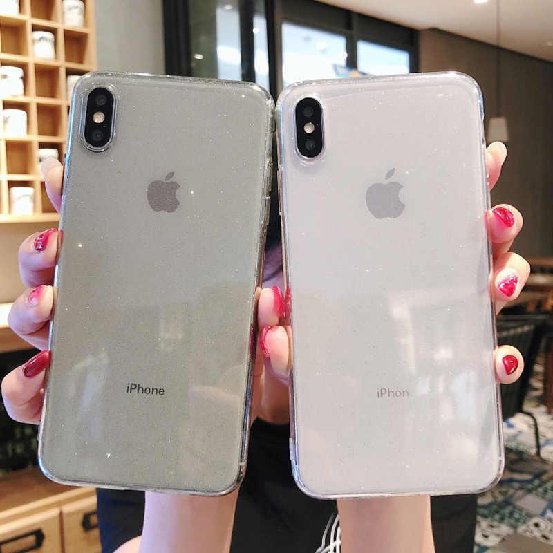 Moskado ze świecidełkami brokatem przezroczyste na telefon etui na iPhone 11 Pro 7 8 6 6s Plus wyczyść zwykły miękka TPU etui na iphone'a X XR XS Max