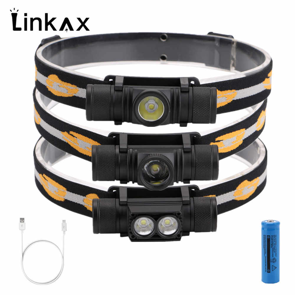New CREE XM L2 LED Headlight Mini Head light USB White Light Head Lamp Flashlight 18650 Battery Headlamp For Camping Hunting