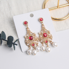2019 moda coreana estilo barroco largo borla perla Pendientes colgantes elegantes para mujeres Pendientes joyería regalo de Navidad