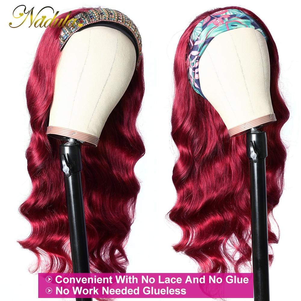 "Burgundy  Wig 18""20""22""  Body Wave Hair Headband Wig  Nadula Headband Wig  No Glue No Gel 3"