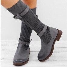 Warm Sock Boots Winter Women Boots Vintage Elastic Woollen Yarn Mid-Calf Boots Women Winter Shoes Woman Buckle Low Heel Boots