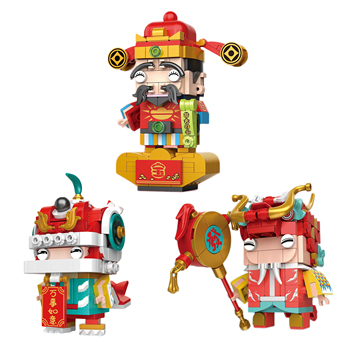 Decool New Year Series Dragon Dancer God of Wealth National Tide Lion Head brickheadz Child Assembled Building Blocks for gifts image