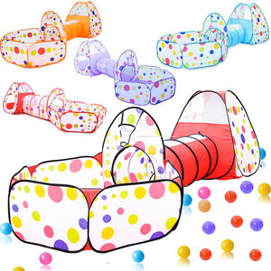 3 in 1 Portable Playpen for Children Baby Playground Foldable Baby Playpen Children's Tent with Tunnel Ocean Ball Pool Baby Park