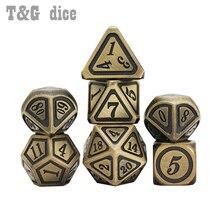 7 шт./компл. набор металлических игральных костей 26 стилей + 1 шт. сумка D4 D6 D8 D10 D12 D20 для ролевых игр DND RPGs настольная игра в подарок