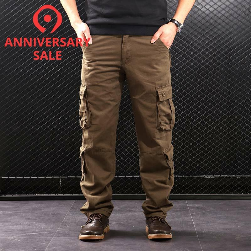 FALIZA Men's Cargo Pants Multi Pockets Military Style Tactical Pants Cotton Men's Outwear Straight Casual Trousers For Men CK102