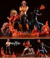Anime uma peça dxf fraternidade ii macaco d luffy figuras portgas d ace sabo pvc figuras de ação brinquedos collectible modelo boneca presente