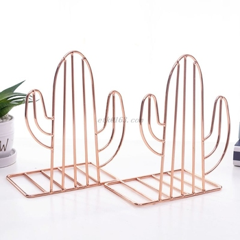 2PCS/Pair Creative Cactus Shaped Metal Bookends Book Support Stand Desk Organizer Storage Holder Shelf 1