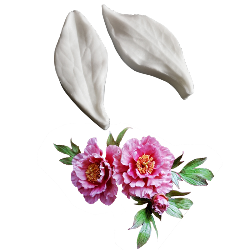 NEW Mini Peony Leaf <font><b>Silicone</b></font> <font><b>Mold</b></font> <font><b>Fondant</b></font> <font><b>Cake</b></font> <font><b>Decorating</b></font> <font><b>Tools</b></font> Water Paper Gumpaste,Sugarcraft Clay Flower M2453 image