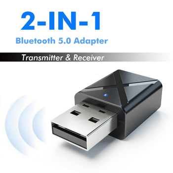 2 in1 Bluetooth 5.0 Audio Receiver Transmitter Wireless Adapter Mini 3.5mm AUX Stereo Bluetooth Transmitter For TV PC Car image