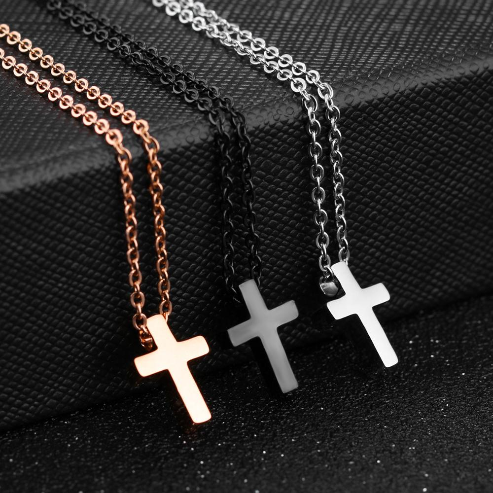 Custom Lettering Couple Cross Necklace For Women Men Fashion Stainless Steel Lover Pendant Outdoor Party Travel Jewelry Gift