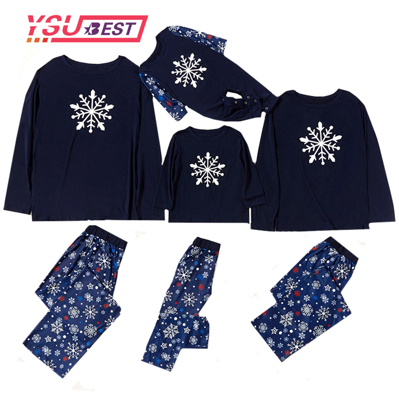 Christmas Family Pajamas Matching Snowflake Sleepwear Clothes Outfits Look Father Mother Kid Nightwear Christmas Pajamas Sets